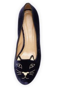 Charlotte Olympia-Kitty Velvet Cat-Embroidered Flat, Navy:Gold. $495.00
